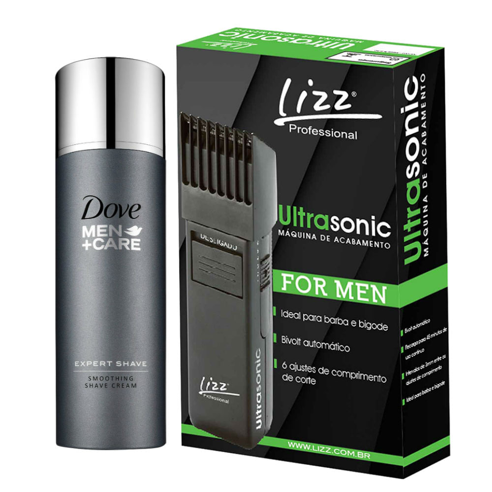 Kit Máquina Acabamento Lizz Ultrasonic Bivolt + Dove Men Creme de Barbear + Expert Shave 150ml