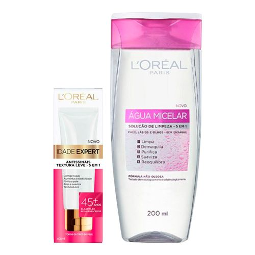 Kit-LOreal-agua-Micelar-200ml-Creme-Antissinais-Idade-Expert-45-40ml-Pacheco-9001208