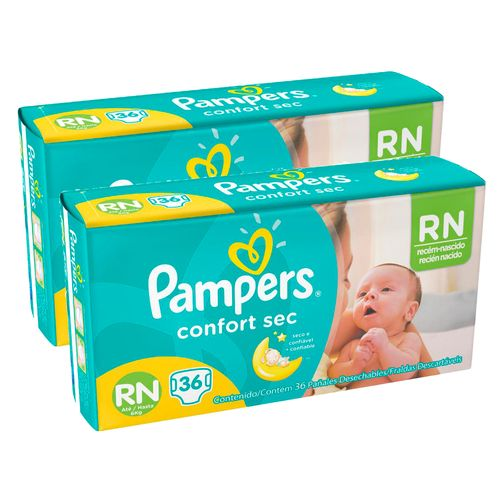 Kit-Fralda-Descartavel-Pampers-Confort-Sec-RN-72-Unidades-Pacheco-9001332