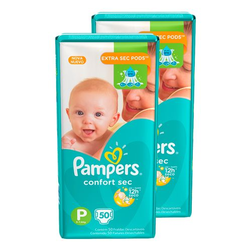 Kit-Fralda-Descartavel-Pampers-Confort-Sec-P-100-Unidades-Pacheco-9001333