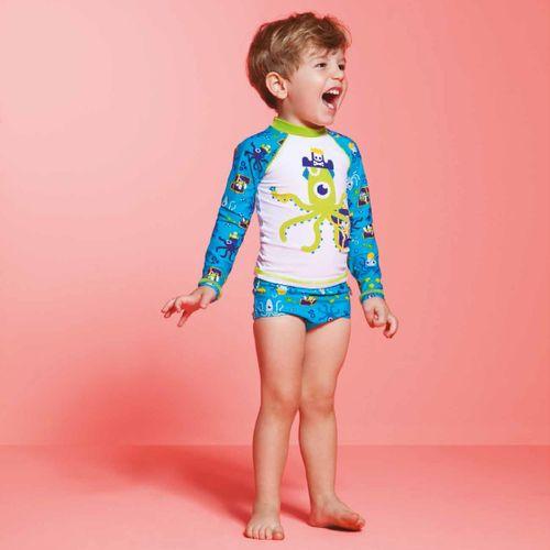 4b9477a574 Conjunto De Banho Para Bebê Polvo Pirata  Camiseta Surfista + Sunga - Puket  Kit1.