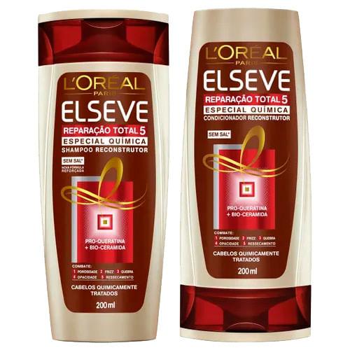 Kit Elseve Reparação Total 5 Química Shampoo 200ml + Condicionador 200ml