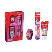Kit-Colgate-Barbie-Gel-Dental-Smiles-100g---Escova-Dental---Relogio
