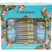 Kit-Bi-Set-Organica-Cha-Branco-e-Gengibre-Hidratante---Sabonete-Liquido---Pente-de-Bambu