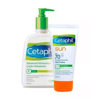 4b3abaa20654e Kit Cetaphil Hidratante Advanced Moisturizer 473g + Protetor Solar Facial  Sun FPS70 Ultra Matte 50ml. Previous