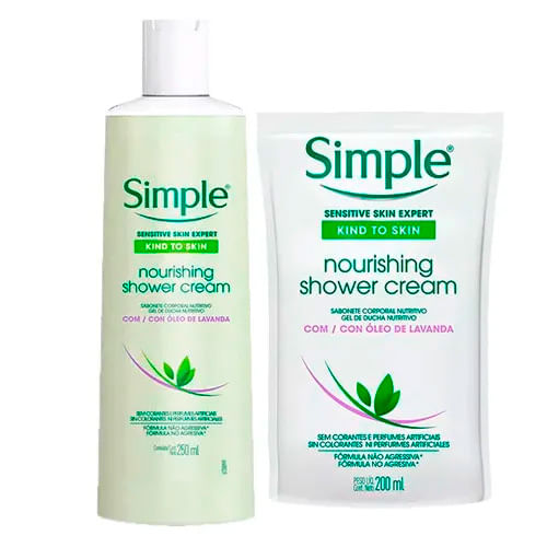 Kit-Simple-Nourishing-Shower-Cream-Sabonete-Liquido-Corporal-250ml---Refil-250ml-Drogarias-Pacheco-9052120