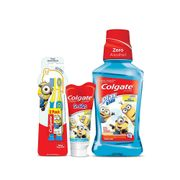 Kit-Colgate-Minions-Escova-Dental-2-Unidades--Enxaguante-Bucal-Plax-Kids-250ml--Gel-Dental-100g-Pacheco-935125644
