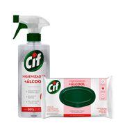 Kit-Cif-Higienizador-Com-alcool-Sem-Perfume-500ml-Lencos-Umedecidos-para-Limpeza-com-alcool-36-Unidades-Pacheco-935127717