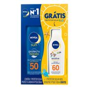 Kit Protetor Solar Corporal Nivea Protect & Hidrata FPS50 200ml + Sensitive Kids FPS60 100ml