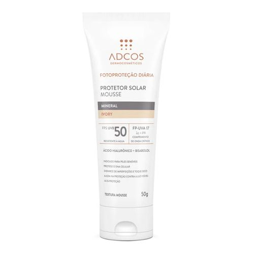 Protetor Solar Facial Adcos Mousse Mineral Nude FPS50 50g