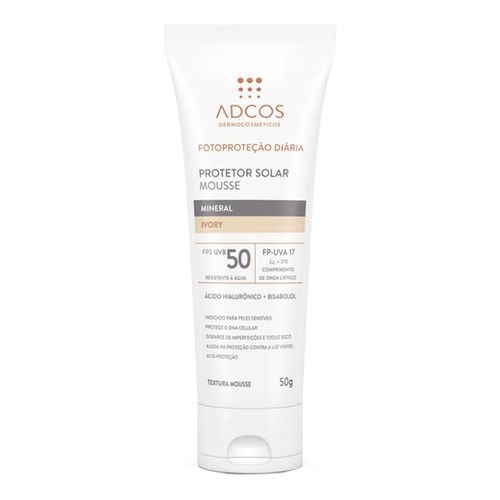 Protetor Solar Facial Adcos Mousse Mineral Peach FPS50 50g