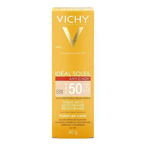 Kit Protetor Solar Facial Vichy Cor Média FPS50 + Gel de Limpeza Facial 40g
