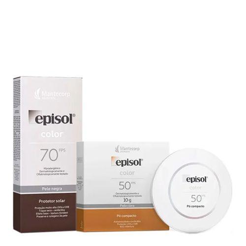 Kit Episol Color Protetor Solar Pele Negra FPS 70 40g + Protetor Solar Em Pó Compacto Pele Clara FPS 50 10g