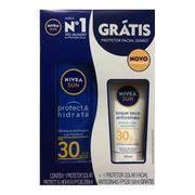 Kit Nivea Protetor Solar Protect & Hidrata FPS30 200ml + Facial FPS30 50ml