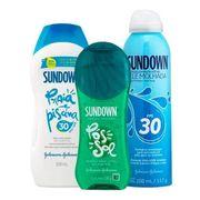 Kit-Sundown-Pos-Sol-em-Gel-130g-Protetor-Solar-Pele-Molhada-Spray-FPS30-200ml--Protetor-Solar-Praia-e-Piscina-FPS30-200ml-Pacheco-935127726