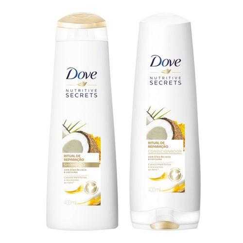 Kit Shampoo Dove Ritual de Reparação 400ml + Condicionador Dove Ritual de Reparação 400ml