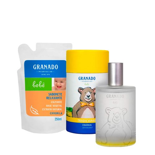 Kit-Granado-Bebe-Colonia-Tradicional-100ml---Sabonete-Liquido-Camomila-Refil-250ml-Pacheco-935138010