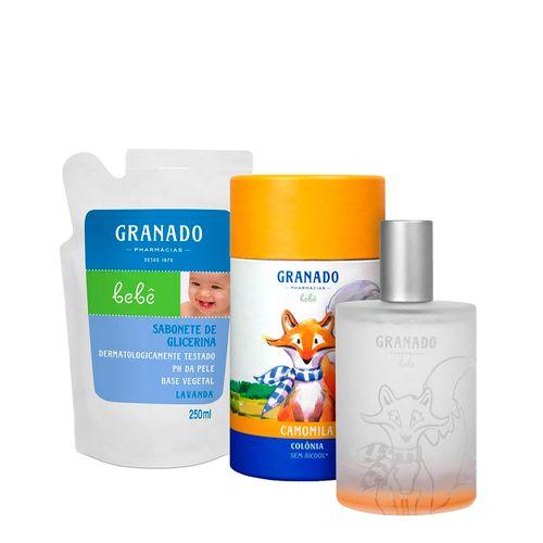 Kit-Granado-Bebe-Colonia-Camomila-100ml---Sabonete-Liquido-Lavanda-Refil-250ml-Pacheco-935138011