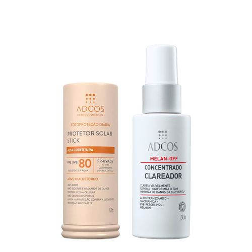Kit-Adcos-Protetor-Solar-Facial-Stick-FPS80-Beige-12g---Serum-Melan-Off-Concentrado-Clareador-30g-Pacheco-935138018