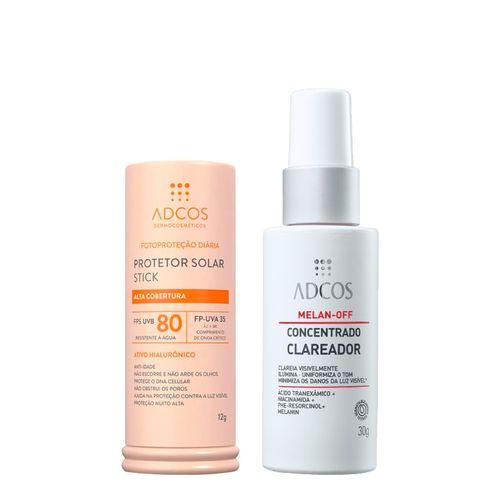 Kit-Adcos-Protetor-Solar-Facial-Stick-FPS80-Nude-12g---Serum-Melan-Off-Concentrado-Clareador-30g-Pacheco-935138019