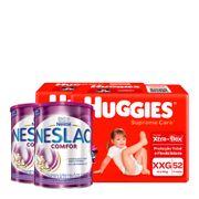 935138027---Kit-Fralda-Huggies-Supreme-Care-XXG-52-Unidades-2-Pacotes---Composto-Lacteo-Nestle-Neslac-Comfor-Lata-800g-2-Unidades