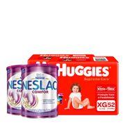935138029---Kit-Fralda-Huggies-Supreme-Care-XG-52-Unidades-2-Pacotes---Composto-Lacteo-Nestle-Neslac-Comfor-Lata-800g-2-Unidades