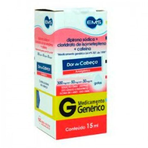 Dipirona Sódica + Isomet + Cafeína Gotas Genérico EMS 15ml