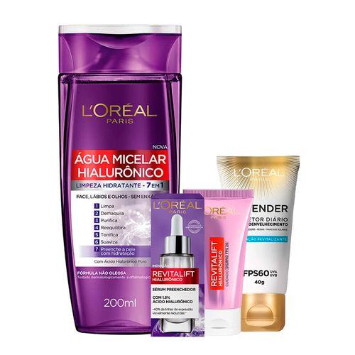 Kit-LOreal-Agua-Micelar-com-Hialuronico-200ml---Creme-Anti-Idade-Revitalift-Hialuronico-Diurno-FPS20-25g---Serum-Facial-Anti