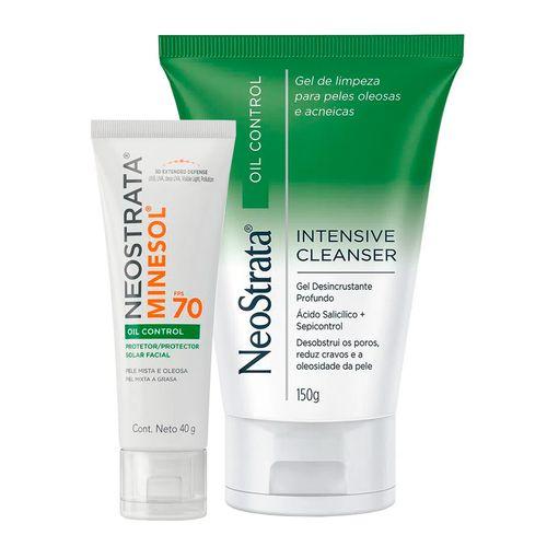 935138216---Kit-Neostrata-Oil-Control-Protetor-Solar-Facial-Minesol--FPS70-40g---Gel-de-Limpeza-Facial-Intensive-Cleanser-150ml