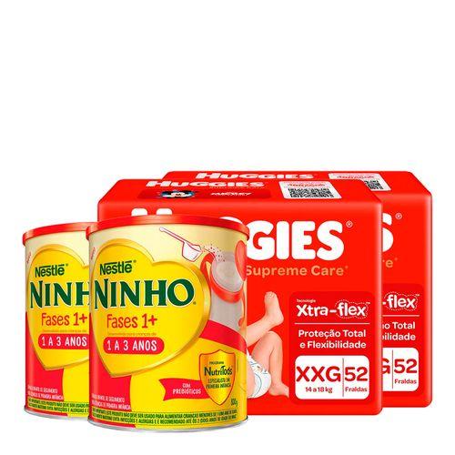 935138225---Kit-Fralda-Huggies-Supreme-Care-XXG-52-Unidades-2-Pacotes---Formula-Infantil-Nestle-Ninho-Fases-1--800g-Lata-2-Unidades