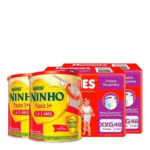 935138230---Kit-Fralda-Huggies-Roupinha-Supreme-Care-XXG-48-Unidades-2-Pacotes---Formula-Infantil-NestlE-Ninho-Fases-1---800g-Lata-2-Unidades